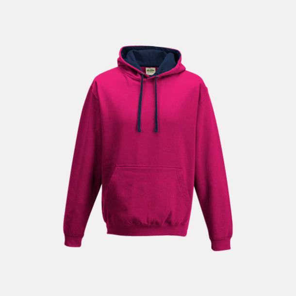 Hot Pink/French Navy Huvtröjor med insida av luva och dragsko i kontrasterande färg - med reklamtryck