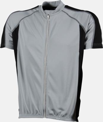 Silver/Svart (herr) Herr- och damcykeltröjor med hel dragkedja - med reklamtryck