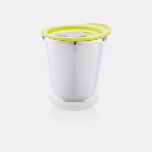Limegrön/Grå Isolerade kaffemuggar med lock - med reklamtryck