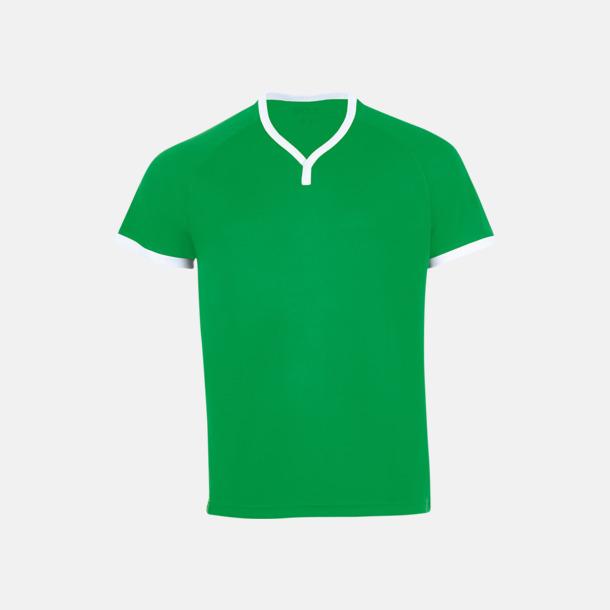 Bright Green/Vit Kortärmade sporttröjor i vuxen- och barnstorlekar med reklamtryck