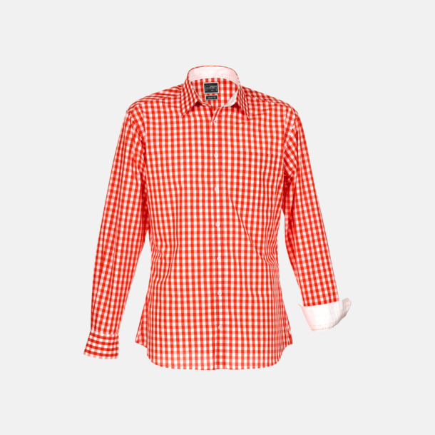 Herrskjorta Rutiga bomullsskjortor & -blusar med reklamtryck
