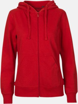 Röd (dam) Ekologiska huvtröjor med blixtlås i herr- & dammodell med reklamtryck