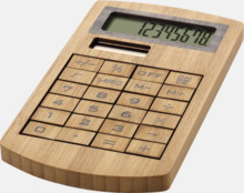 Ekovänliga miniräknare i bambu med reklamtryck