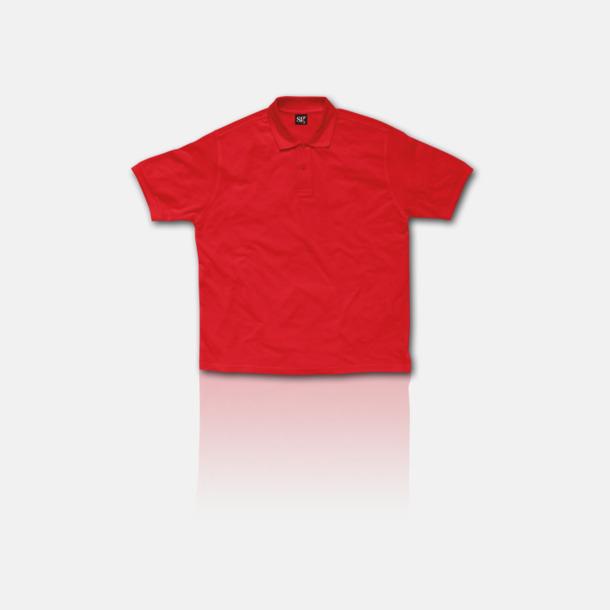 Röd Blended pikéer för herr, dam & barn med reklamtryck