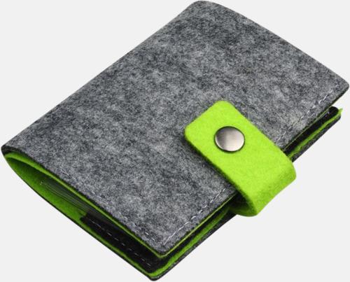 Grå/Limegrön Visitkortsfodral i filt med reklamtryck