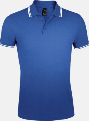 Royal Blue/Vit (herr) Herr- och dampikéer med kontrasterande ränder - med tryck eller brodyr