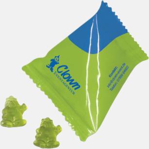 Gelégodis i egen form i pyramidpåsar med reklamtryck
