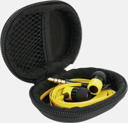 Gul In-ear hörlurar med mikrofon - med reklamtryck