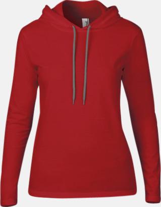 Röd (dam) Billiga herr- och damtröjor med reklamtryck