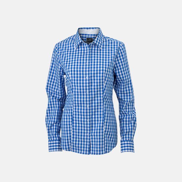 Royal/Vit (dam) Rutiga bomullsskjortor & -blusar med reklamtryck