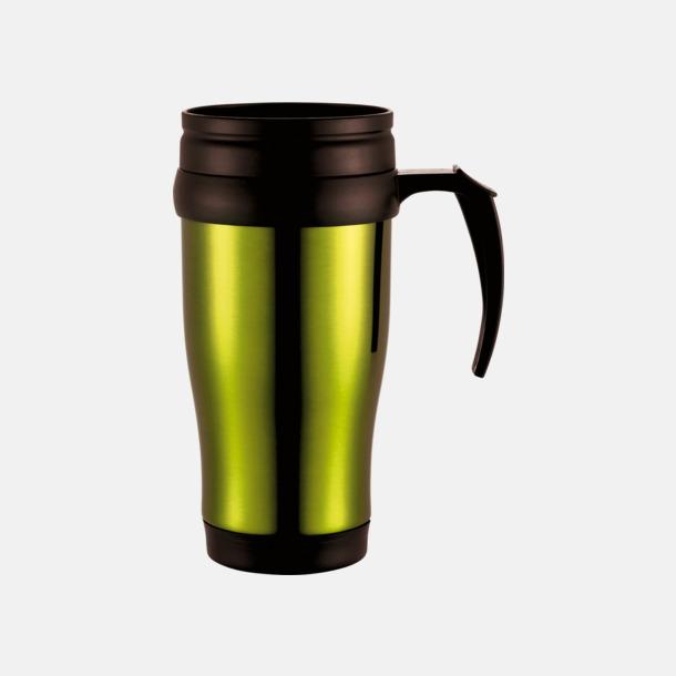 Limegrön 0,35 liter termosmuggar med spillskydd - med tryck