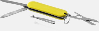 Gul Billig fickkniv med 5 funktioner - med reklamtryck