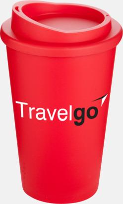 Röd Kaffemuggar för utemiljöer med lock