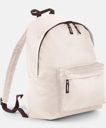 Sand/chocolate Klassisk ryggsäck i 2 storlekar med eget tryck