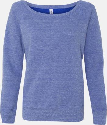 Blue Triblend (heather) Spräckliga damtröjor med vid halsöppning - med reklamtryck