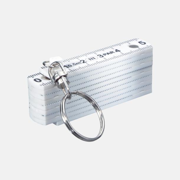 Vit Kompakt måttstock och nyckelring med eget tryck