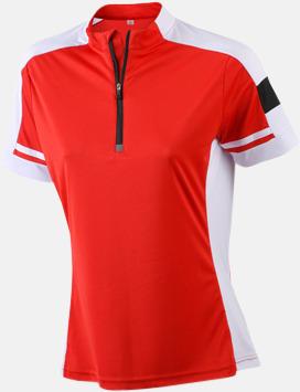Röd (dam) Herr- och dam cykeltröjor med reklamtryck