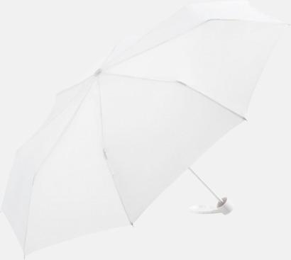 Vit Kompaktparaplyer i aluminium med tryck