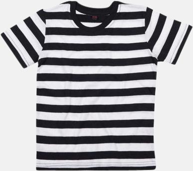 Svart/Vit (barn) Randiga t-shirts i herr-, dam- och barnmodell med reklamtryck