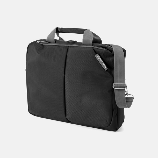 Svart / Grå Vadderad laptopbag med eget tryck