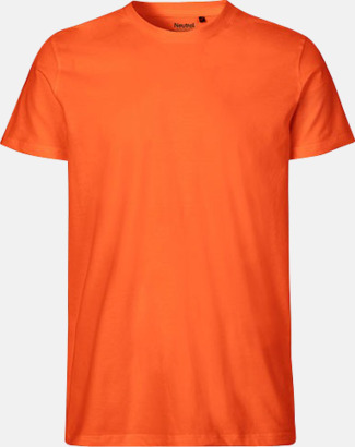 Orange (herr) Fitted t-shirts i ekologisk fairtrade-bomull med tryck