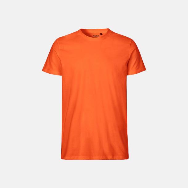 Orange (herr) Fitted t-shirts i ekologisk fairtrade-bomull med tryck