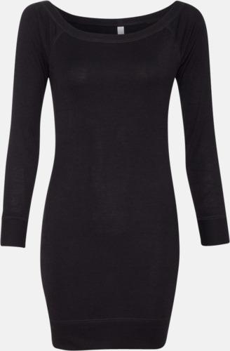 Svart Långärmade klänningar med reklamtryck