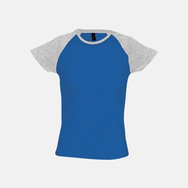 Royal Blue/Grey Melange (dam) T-shirts i herr- och dammodell med kontrasterande färg - med reklamtryck