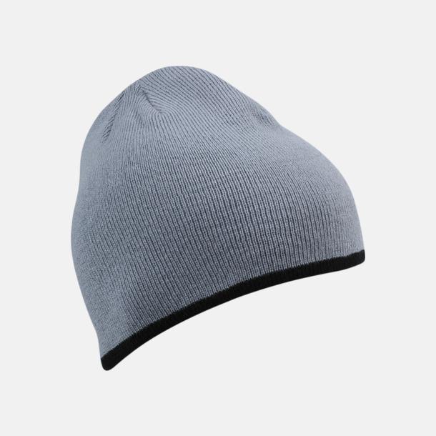 Ljusgrå/Svart Stickad mössa med eget tryck