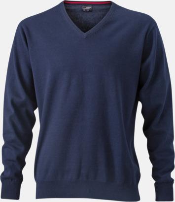 Marinblå V-ringade herrtröjor med eget tryck