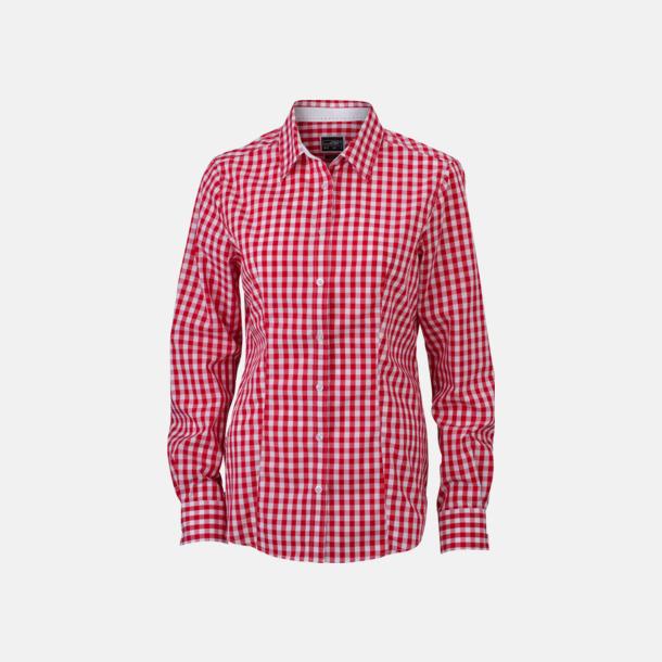 Röd/Vit (dam) Rutiga bomullsskjortor & -blusar med reklamtryck