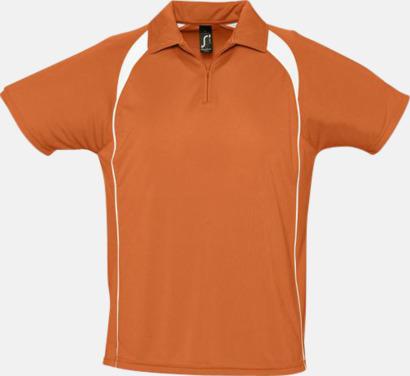 Orange/Vit Färgglada pikétröjor i funktionsmaterial med tryck