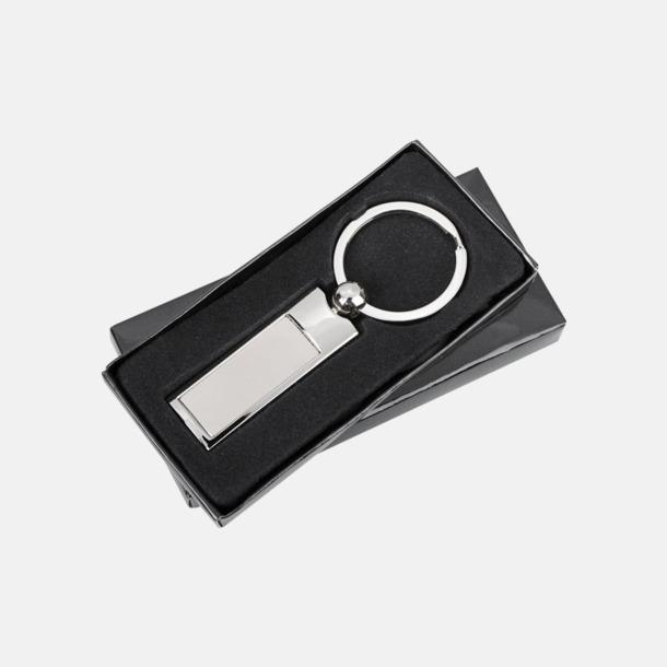 Rektangulära nyckelringar i blank och matt metall