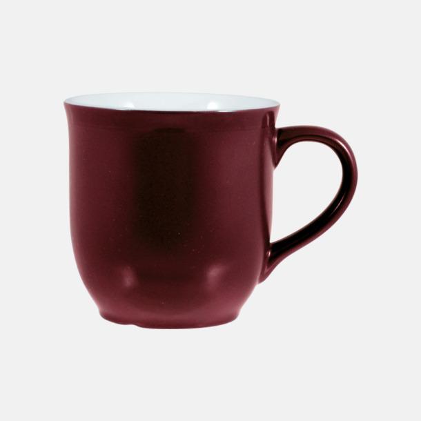 Vinröd/Vit Fina kaffemuggar med reklamtryck