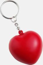 Hjärtformade stressbollar med nyckelring - med reklamtryck