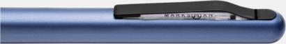 Klips (Metallic Blue) Plastpennor med metalldetaljer - med reklamtryck