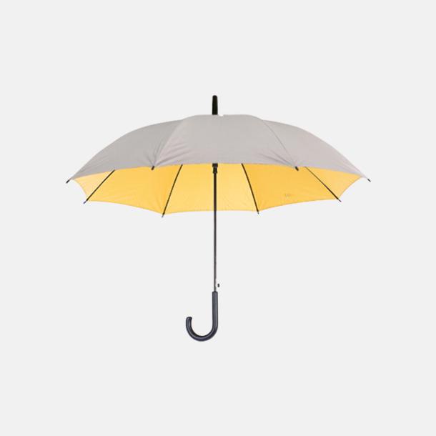 Silver / Gul Paraplyer med färg på insidan - med reklamtryck