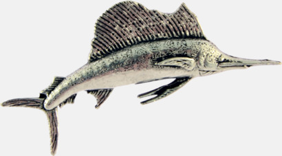 Segelfisk Engelska, handgjorda broscher med jaktmotiv