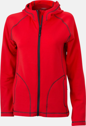 Röd/Carbon (dam) Figursydda herr- & damjackor i fleece med reklamlogo