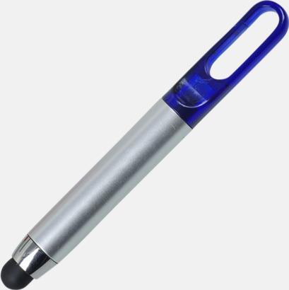 Silver / Blå Stylus pennor med hake - med reklamtryck