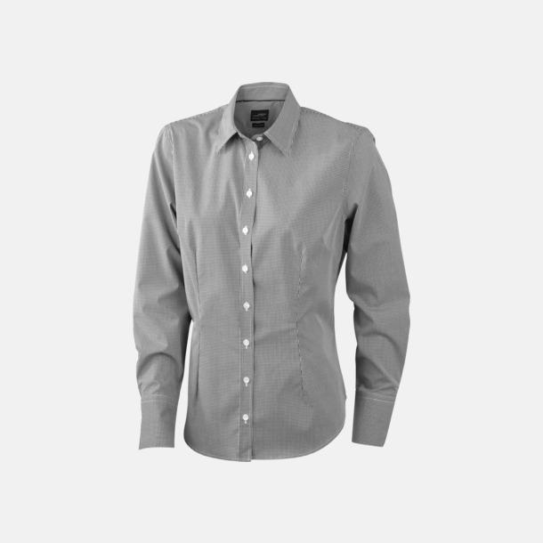 Vit/Svart (dam) Bomullslusar & -skjortor med fina rutor - med reklamtryck