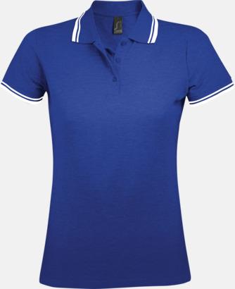 Royal Blue/Vit (dam) Herr- och dampikéer med kontrasterande ränder - med tryck eller brodyr