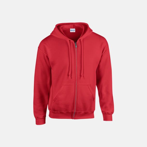 Röd Heavy Blend-tröja i herrmodell med reklamtryck