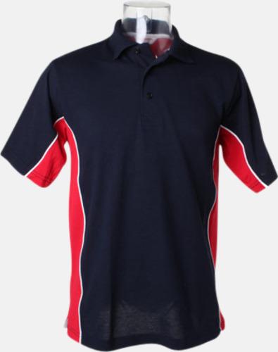 Marinblå/Röd/Vit Sportiga pikétröjor med reklamtryck eller -brodyr