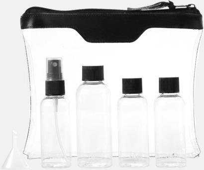 Blixtlåsförsett necessär och flaskset med reklamtryck