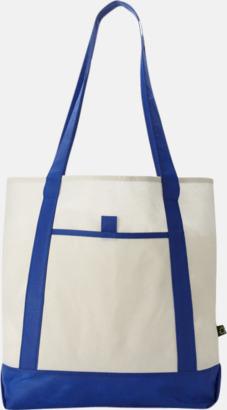 Blå/Benvit Mönstrade non woven-väskor med reklamtryck