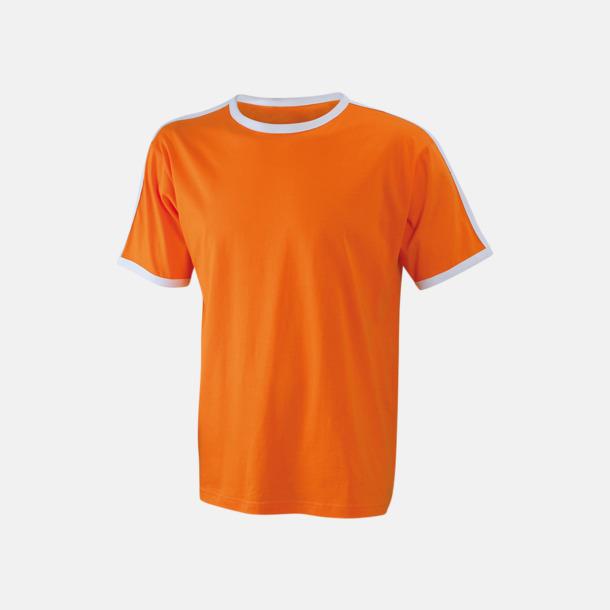 Orange/Vit (herr) T-shirts med kontrastfärger - med reklamtryck