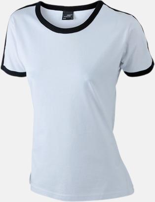 Vit/Svart (dam) T-shirts med kontrastfärger - med reklamtryck