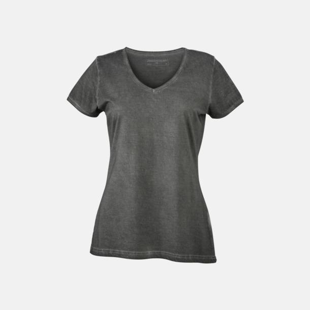 Graphite (dam) Trendiga v-neck t-shirts i herr- och dammodell med reklamtryck