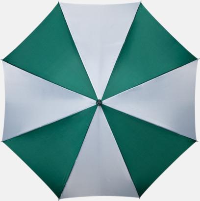 Mörkgrön / Vit Golfparaplyer med gummerade handtag